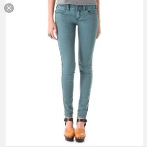 Free People teal skinny stretch jeans - size 26